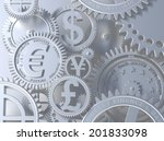 Stock photo fantasy silver clockwork with currency sign euro gear dollar yena pound 201833098