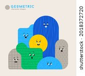 cute cartoon geometric figures... | Shutterstock .eps vector #2018372720