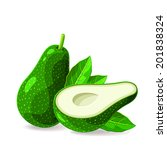 vector fresh avocados without...   Shutterstock .eps vector #201838324