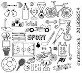 sport doodle set. hand drawn... | Shutterstock .eps vector #201838354