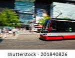 modern tram blurred in motion...   Shutterstock . vector #201840826