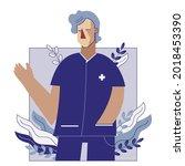 male nurse flat vector...   Shutterstock .eps vector #2018453390