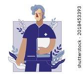male nurse holding a note flat...   Shutterstock .eps vector #2018453393