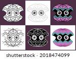set of cartoon giant clam in 6...   Shutterstock .eps vector #2018474099