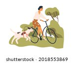 happy woman riding bicycle with ... | Shutterstock .eps vector #2018553869