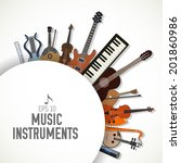 flat music instruments icons... | Shutterstock .eps vector #201860986