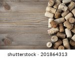 Heap Of Assorted Wine Corks On...