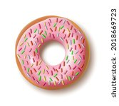 3d realistic donut with... | Shutterstock .eps vector #2018669723