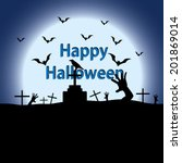 halloween night  on the moon... | Shutterstock .eps vector #201869014