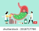 human stomach full of gastric... | Shutterstock .eps vector #2018717780
