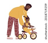 father teaches daughter ride... | Shutterstock .eps vector #2018719259