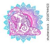 yoga girl. ornament meditation... | Shutterstock .eps vector #2018744423