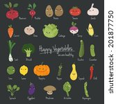 a set of  cartoon vegetables... | Shutterstock .eps vector #201877750