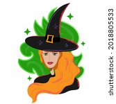 Witch Portrait In Black Hat And ...
