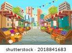 organic food market street.... | Shutterstock .eps vector #2018841683