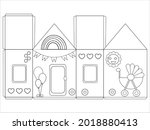 house paper model. paper craft...   Shutterstock .eps vector #2018880413