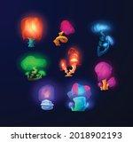 glowing magic fantasy mushrooms ... | Shutterstock .eps vector #2018902193