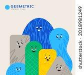 cute cartoon geometric figures... | Shutterstock .eps vector #2018981249