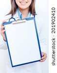 a female doctor with a folder ... | Shutterstock . vector #201902410