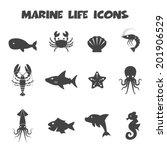 Marine Life Icons  Mono Vector...