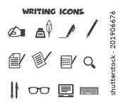 writing icons  mono vector... | Shutterstock .eps vector #201906676