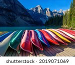 Lots Of Colored Canoe Turned...