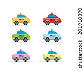 collection of colored taxi | Shutterstock .eps vector #201910390