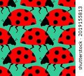 ladybug pattern seamless. red... | Shutterstock .eps vector #2019155813