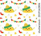 colorful mexican food vector... | Shutterstock .eps vector #2019162806