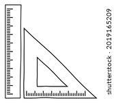 triangular ruler and straight... | Shutterstock .eps vector #2019165209