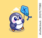 cute penguin playing kites... | Shutterstock .eps vector #2019177080