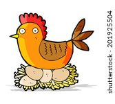 cartoon hen on eggs | Shutterstock . vector #201925504