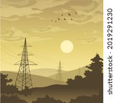 industrial dawn landscape in ... | Shutterstock .eps vector #2019291230