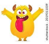 funny cartoon monster character ... | Shutterstock .eps vector #2019311039