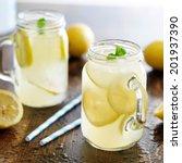 lemonade in jar with ice and... | Shutterstock . vector #201937390