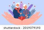 giant hands supporting happy...   Shutterstock .eps vector #2019379193