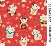 seamless japanese maneki cats... | Shutterstock .eps vector #2019395870