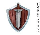 wooden game shield badge ...