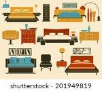 modern bedroom furniture and...   Shutterstock .eps vector #201949819