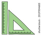 triangular ruler and straight... | Shutterstock .eps vector #2019504683
