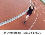 woman running on a treadmill....   Shutterstock . vector #2019517670