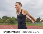 woman stretching on the...   Shutterstock . vector #2019517673