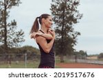 woman stretching on the...   Shutterstock . vector #2019517676