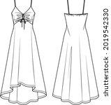 vector maxi dress technical... | Shutterstock .eps vector #2019542330