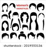 set of fashionable haircuts and ... | Shutterstock .eps vector #2019553136