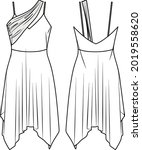 vector mini dress fashion cad ...   Shutterstock .eps vector #2019558620