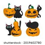 set of black cats with pumpkin... | Shutterstock .eps vector #2019602780