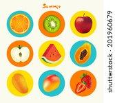 summer tropical fruit vector... | Shutterstock .eps vector #201960679