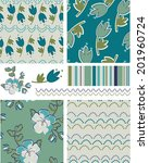 modern floral vector patterns.... | Shutterstock .eps vector #201960724