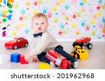 joyful kid boy on birthday...   Shutterstock . vector #201962968